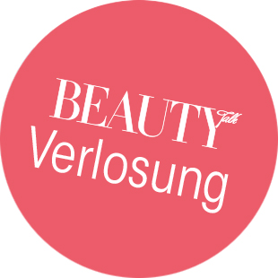 "roter Bubble mit Text ""Beauty Verlosung"""